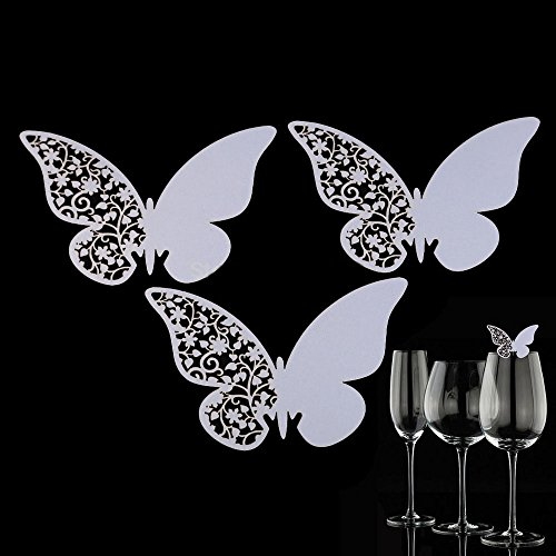 50 Pcs Butterfly Wine Glass Paper Place Cards White - 3