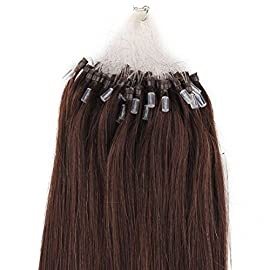Beauty7 18″ 20″ 22″ 24″ Loop Micro Ring Beads Tipped Remy Human Hair Extensions 25g 50s 0.5g/s #2 Dark Brown