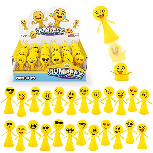 Ideas For Halloween Party Goodie Bags (Jumping Emoji Popper Spring Launchers Toys - Cute Bouncy Party Favors for Kids - Unique Stress Relief Squishy Mini Toys - Party Supplies and Goodie Bag Fillers - 24 Figurines)