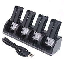 Kobwa 4 in 1 Wii Remote Controller Charging Dock Station with 4 Rechargeable Batteries and LED Indicator Light - Black