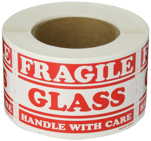 """Aviditi SCL547 Rectangle Label """"Fragile Glass Handle with Care"""", 5"""" Length x 3"""" Width (Roll of 500)"""