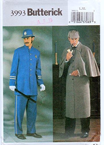 Butterick 3993 Sewing Pattern Sherlock Holmes English Bobby Costume (L-XL) - Sherlock Homes Costumes