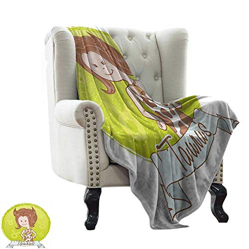 (BelleAckerman Furry Blanket Taurus,Cute Cartoon Little Girl Dressed Like Cow with Spots and Horns Image,Light Caramel Apple Green for Bed & Couch Sofa Easy Care 60