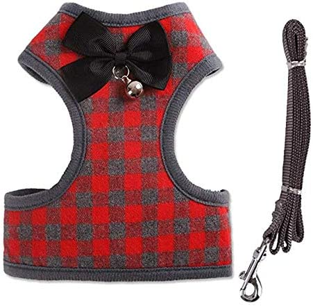 Pet Dogs Leash Rantow Heavy Duty Pet Dog Harness Vest S, Blue Plaid with Cute Bow Tie & Bell Classic Plaid Puppy Harness Kitty Lead Rope Set for Small Dogs Big Cats