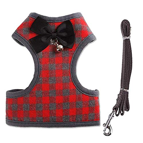 4694e9e75 LEMON PET Dog/Cat Harness with Leash Set - Soft Mesh Classic Adjustable  Cosy Vest Harness with Bow Tie and Bell Chest Harness for Small Medium Dogs  (S, Red)