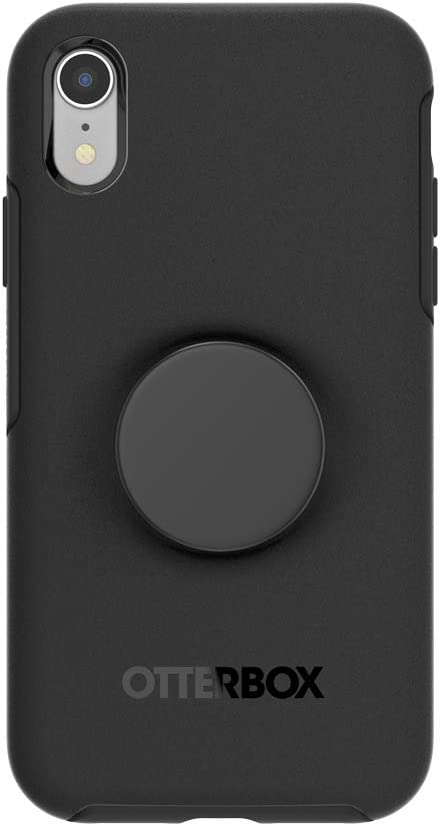 Otter + Pop for iPhone XR: OtterBox Symmetry Series Case with PopSockets Swappable PopTop - Black and Aluminum Black