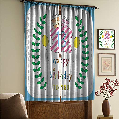 whitepurplecassie curtain iPrint Stylish Window Curtains,Multicolor,2 Panel Set Window Drapes,Colored Hand Drawn Cute Composition Leaves Gifts 108Wx95L Inch ()