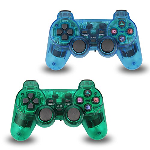 2pcs Pack Wireless Game Controller Double Shock Gamepad for Sony PS2 PlayStation (Playstation 2 Wireless Controller)