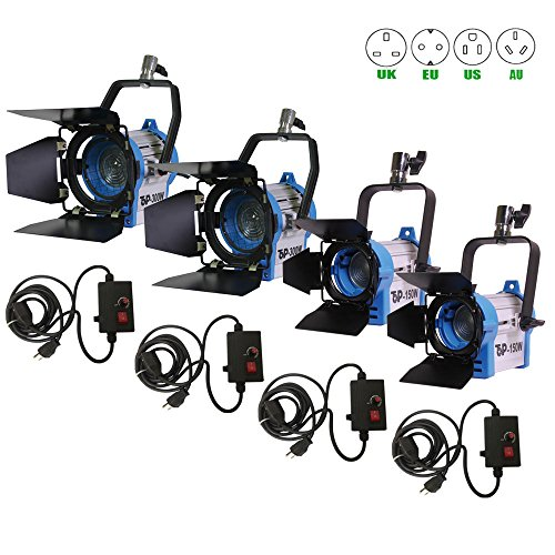Top-Fotos 150W*2+300W*2+Dimmers*4 Fresnel Tungsten Spot light Lighting Studio Video camera