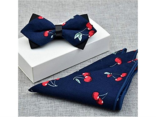 Kxrzu Fashion Cherry tied Bowties Pre Fashionable Ties for Bow Set Men Men Printed towel and Pocket UrwUpxZ