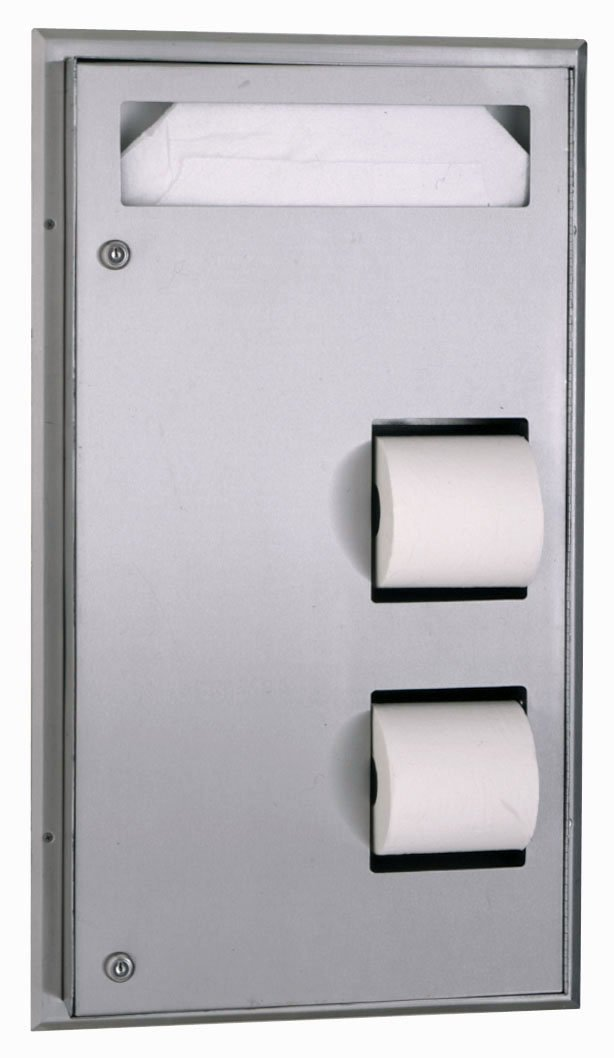 """Bobrick 347 ClassicSeries 304 Stainless Steel Partition Mounted Seat-Cover and Toilet Tissue Dispenser, Satin Finish, 17-3/16"""" Width x 30-5/8"""" Height"""