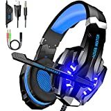 BENGOO G9000 Gaming Headset Over Ear Headphone with Mic and LED Light for PC, PS4, Switch, Tablet and Smartphone. Noise Cancelling, Stereo Bass Surround, Comfortable Protein Earmuff