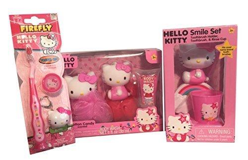 Hello Kitty 3 Piece Smile Set, Hello Kitty Body Wash Set, Hello Kitty Toothbrush Bathroom Bundle