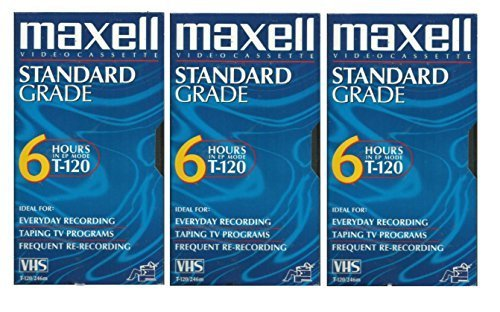 Maxell VHS Blank 3-Pack Standard Grade T-120 6 hour EP Mode /246m