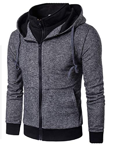 Overcoat AngelSpace Luxury Zipper Hooded Dark Pocket Men Leisure Grey SrSYw