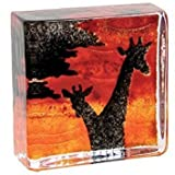 Caithness Glass Piece Crystal Sarah P Art Glass Safari Sandcasts Paperweight, Black, Orange/ Red
