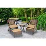 Skylar Glen Leisure Furniture Set, Two Woven Chairs, Two Coordinating Ottomans, Glass-Topped Side Table, Brown , Beige