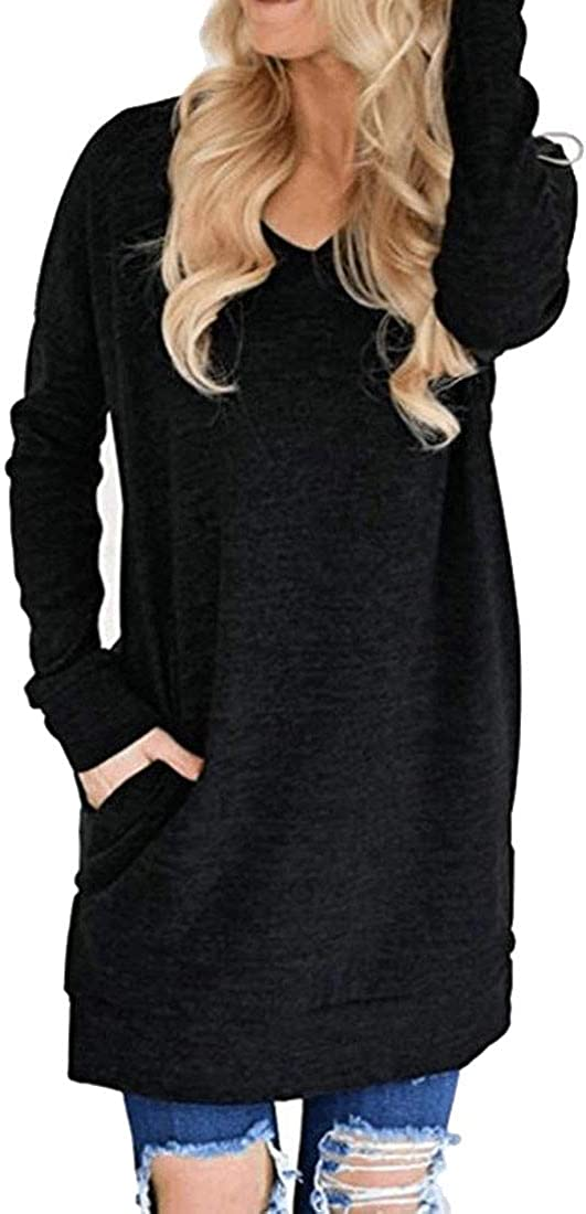 Sweatwater Womens Casual Long Sleeve Autumn Blouse V Neck Slit T-Shirts