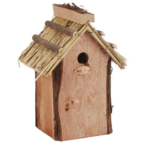 Esschert Design Thatched Roof Chickadee Bird House - Medium