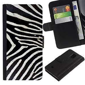 Samsung Galaxy S5 Mini / SM-G800 (Not For S5!!!) , la tarjeta de Crédito Slots PU Funda de cuero Monedero caso cubierta de piel ( Zebra Pattern Whote Black Stripes Nature)