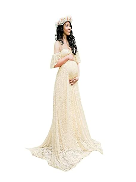 Maternity Maxi Dress Split Lace Robe for Photography at Amazon ...