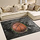 Naanle Sport Area Rug 5'x7′, Basketball Polyester Area Rug Mat for Living Dining Dorm Room Bedroom Home Decorative For Sale