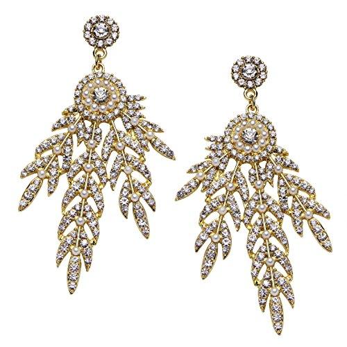 BABEYOND Art Deco 1920's Flapper Great Gatsby Inspired Leaf Medallion Pearl Drop Dangle Earrings -