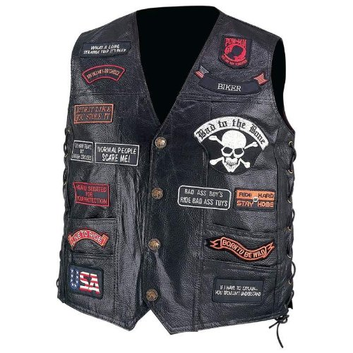 Vest Buffalo Leather Genuine Biker (Diamond PlateTM Hand Sewn Pebble Grain Genuine Buffalo Leather Biker Vest with 23 Patches, Size X-Large)