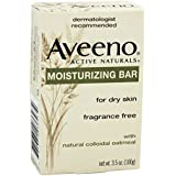 Aveeno Moisturizing Bar with Natural Colloidal Oatmeal for Dry Skin, Fragrance Free, 3 Oz (Pack of 3)
