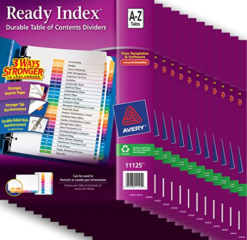 Avery Ready Index(R) Table of Contents Dividers 26 Tabs, A-Z, Case Pack of 12 Sets (11125) - Dividers 12 Tabs Printed