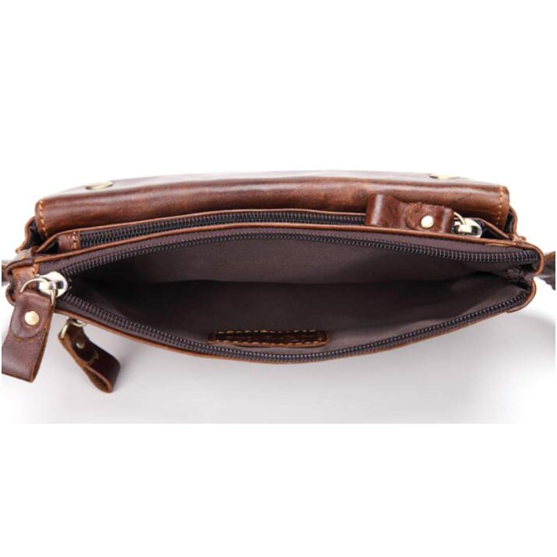 Color : Brown RABILTY Body Bag Waist Bag Waist Pouch Mens Multi Function Genuine Leather