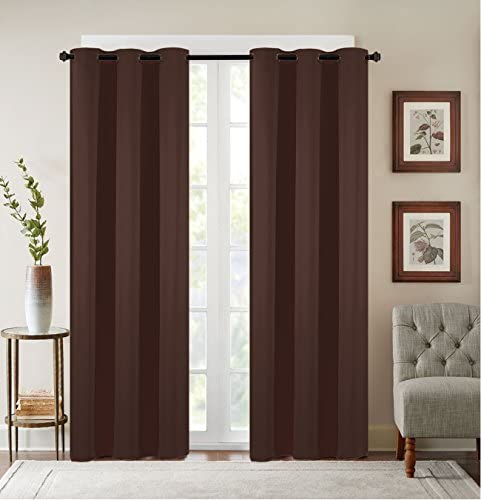 Sally Textiles Solid Blackout Window Panel, Coffee