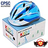 Kids Helmet – Adjustable from Toddler to Youth Size, Ages 3 to 7 – Comes in Great Looking Package Perfect for Gift – Multi-Sports with LED Safety Light – CSPC Certified for Safety