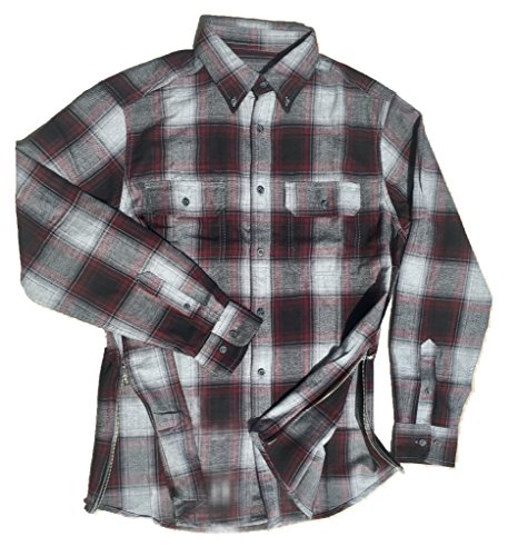 Grey/Black/Maroon Fear of God Inspired Flannel w/ Side - Down Justin Button Shirt Bieber