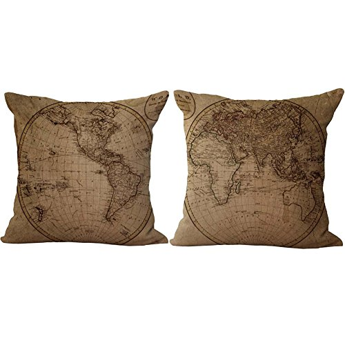 RwalkinZ 2 Packs Retro Vintage Old World Map Pattern Pillow Covers 18 X 18 Square Decorative Throw Pillow Case Cotton Linen Cushion Cover for Home Sofa Bedding Decoration 2 Old World Map