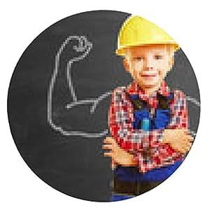 alfombrilla de ratón Niño como un artesano con los músculos en la pizarra - ronda - 20cm
