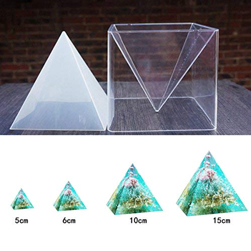 Mayitr 1pc Super Pyramid Silicone Mould Resin Craft Jewelry Crystal Mold + Plastic Frame