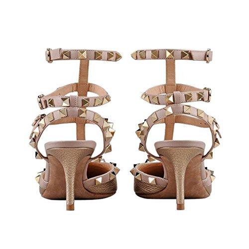 Mavirs Womens Punta A Punta Cinturino Alla Caviglia Pompe T-strap Tacco Medio Rivetti Scarpe Con Borchie Bronzo-pu