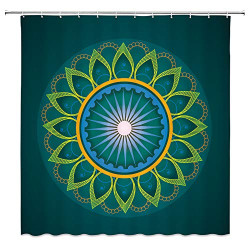 (AMNYSF Mandala Shower Curtain Turquoise and Sapphire Geometric Round Flower Pattern Decor Fabric Bathroom Curtains,70x70 Inch Waterproof Polyester with Hooks)