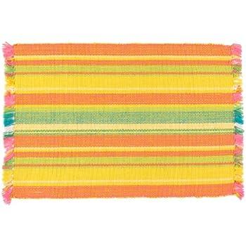 Amazon Com 100 Cotton Yellow Amp Orange Striped 12 Quot X18