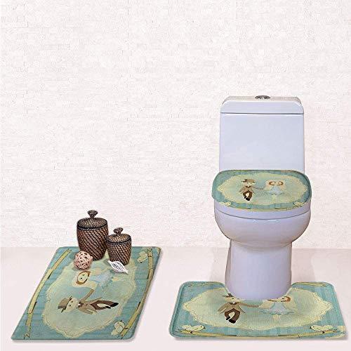 Comfort Flannel 3 Pcs Bath Rug Set,Contour Mat Toilet Seat Cover,Vintage Retro Design Bride Groom Pigeons Ribbon Grunge with Slate Blue Avocado Green,Decorate Bathroom,Entrance Door,Kitchen,Bedroom