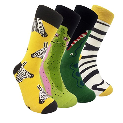 Mens Colorful Dress Socks Animal – HSELL Men Zebra & Crocodile Pattern Fashionable Zoo Fun Crew Socks (Zebra & Crocodile - 4 Pairs)