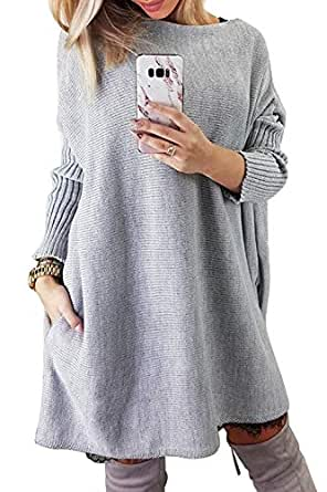 CILKOO Womens Sweaters Ladies Winter Warm Oversized Off Shoulder Chunky Cable Knitted Long Tunic Pullover Sweater Dresses White US 8 10