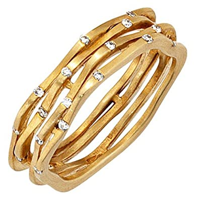 Goldring breit  Ring Damenring 585 Gold Gelbgold matt mit 18 Diamanten Brillanten ...