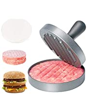 """Asdirne Hamburger Press Patty Maker, Food Grade Aluminum Burger Press with ABS Handle, Non-Stick, Easy to Clean, with 50 Pcs Wax Patty Paper, 4.6"""" Diameter and 0.7"""" Depth"""