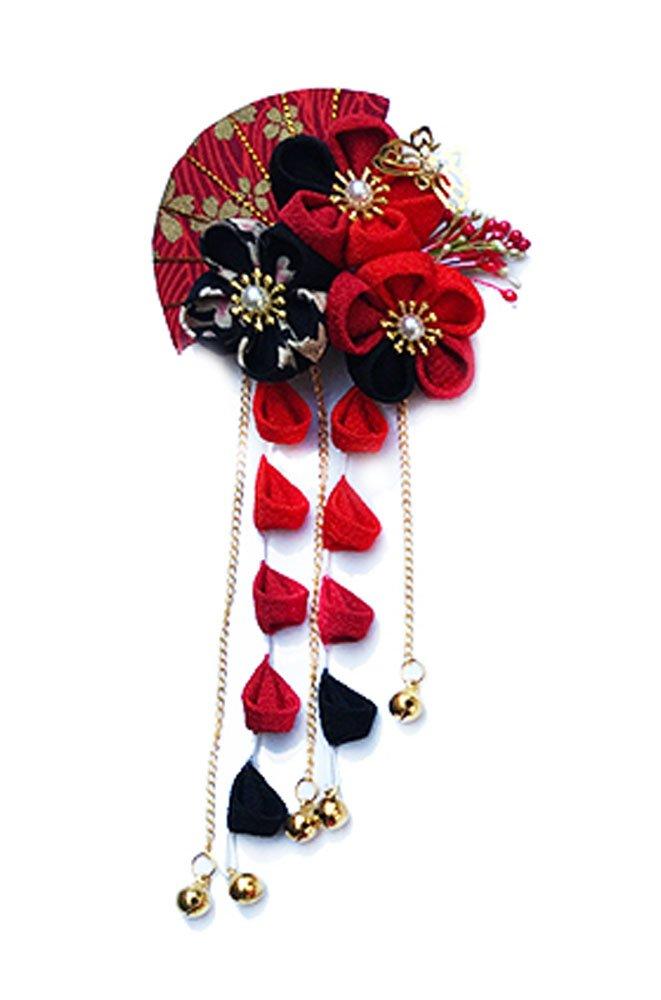 CRB Fashion Womens Girls Japanese Kimono Flower Kanzashi Hair Ornament Tie Band Clip (Red/Black)