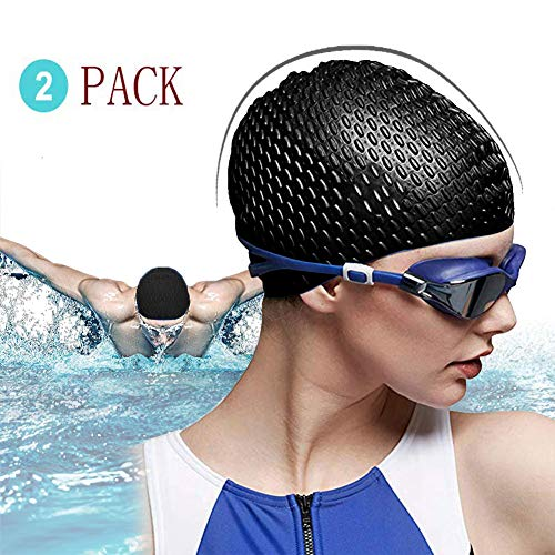 Antrixer Womens Silicone Swim Cap 3D Ergonomic Design Keep Hair Dry for Long/Curly/Braids Hair Unisex Adult Kids Bathing Cap