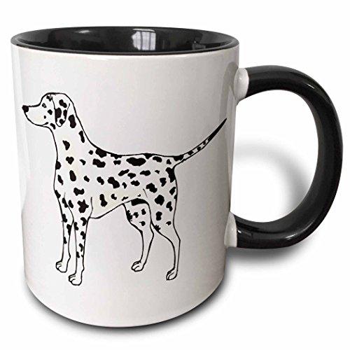 3dRose 129126_4 Cute And Cuddly Canine Standing Dalmatian Mug, 11 oz, Black (Dalmatian Mug)