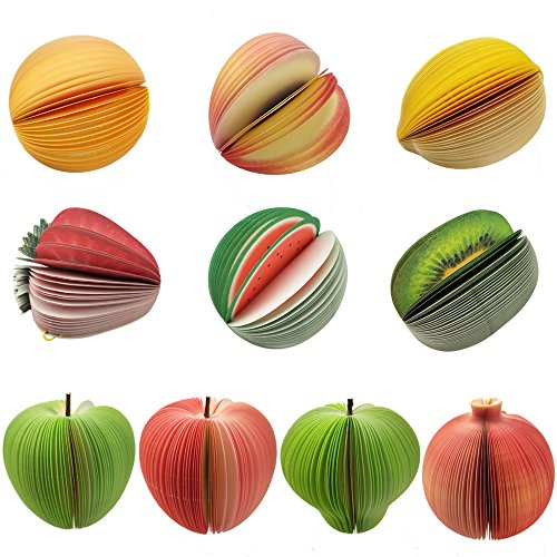 SkyCooool 10 Types Cute and Vivid 3D Fruit Shaped Portable Memo Message Notes Paper Scratch Pad