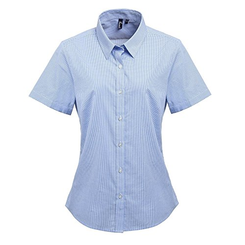 Premier Womens/Ladies Microcheck Short Sleeve Cotton Shirt (XL) (Light Blue/White)